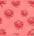 seamless pattern with bright red chrysanthemums vector image