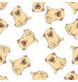 seamless pattern with pugs vector image