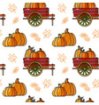 seamless pattern with pumpkin cart and leave vector image vector image