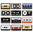 set audio cassettes collection compact vector image vector image