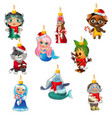 set colorful painted glass figurines vector image vector image