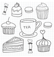 set hand drawn cakes sweets tea cup vector image vector image