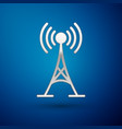 silver antenna icon isolated on blue background vector image vector image