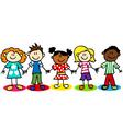 Stick-figure-ethnic-diversity-kids-T vector image vector image