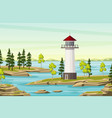 summer landsape with lighthouse vector image