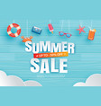 summer sale with decoration origami hanging vector image vector image