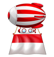 The flag of Monaco attached to a floating balloon vector image vector image