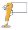 thumbs up with board baseball bat character vector image vector image
