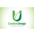 u green leaf letter design logo eco bio leaf vector image
