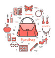 woman accessories concept with red handbag icon vector image
