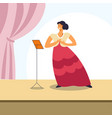 woman singing on opera stage or classical concert vector image vector image