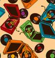 Seamlees pattern of gramophones vector image