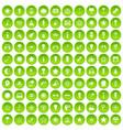 100 light icons set green circle