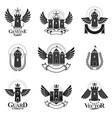 ancient fortresses emblems set heraldic coat of vector image