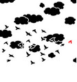 black and white flying birds and clouds in the vector image