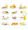 breakfast morning food healthy meal egg vector image vector image