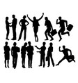 business people and secretary activity silhouettes vector image vector image