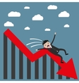 businessman falling from chart vector image