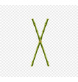 capital letter x made of green bamboo sticks on vector image