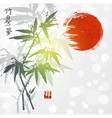 Card with bamboo and red sun vector image vector image