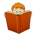 cartoon boy reading big book vector image