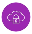 Cloud computing security line icon vector image