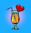 cocktail with heart drink with straw and ice vector image