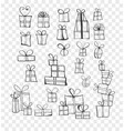 Collection doodle sketch christmas gift boxes
