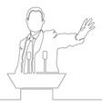 continuous one line businessman speech vector image