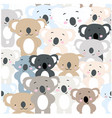 cute baby colorful koala bear seamless pattern vector image vector image