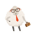 cute businessman sheep character wearing glasses vector image vector image