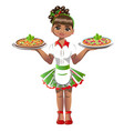 cute waitress with pizza vector image
