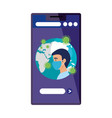 earth planet covid19 in smartphone with man vector image vector image