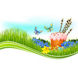 easter cake and egg banner with copy space