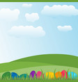 easter colorful eggs in a landscape background vector image
