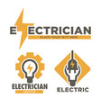 electrician service and electric repair works vector image vector image