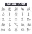 engineer line icons for web and mobile design vector image vector image