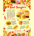 fast food burgers delivery menu poster vector image vector image