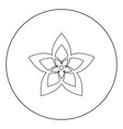 flower icon black color in circle or round vector image