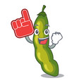 foam finger green beans pod isolated on mascot vector image