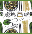 food collection miso soup seamless pattern vector image vector image
