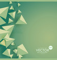 green background with 3d triangle shapes vector image vector image