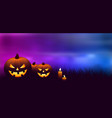 halloween pumpkins with candles vector image vector image