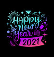 happy new year 2021 message with icons vector image vector image