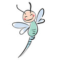happy smiling dragonfly on white background vector image vector image