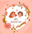 happy valentines day romantic floral card vector image vector image