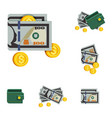 icons beautiful green wallets with money vector image vector image