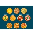 Italian pizza menu icon with different toppings vector image vector image