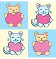 Lovers cartoon cats set vector image vector image