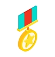 Medal with star isometric 3d icon vector image vector image